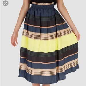 Apiece Apart Tea Length Wabi Skirt Midi Stripe